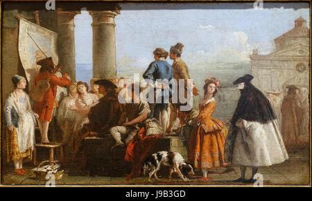 The Story by Giovanni Domenico Tiepolo, Venice, mid 1770s, oil on canvas   Blanton Museum of Art   Austin, Texas - Stock Photo