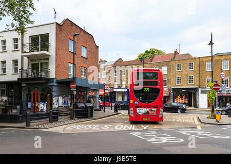The terminus of the 271 bus route in Highgate Village, London, UK - Stock Photo