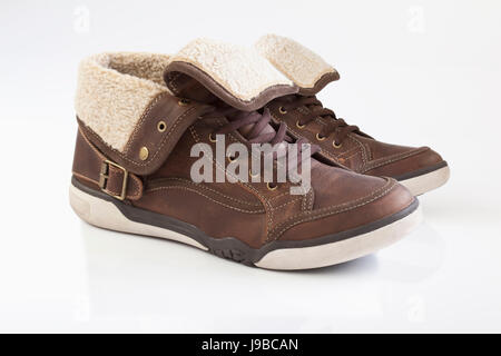 masters, winter, brown, brownish, brunette, shoes, leather, skin, pair, men, - Stock Photo