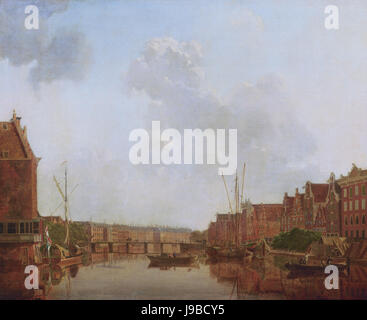 View of the River Amstel in Amsterdam, by Gerrit Toorenburgh - Stock Photo