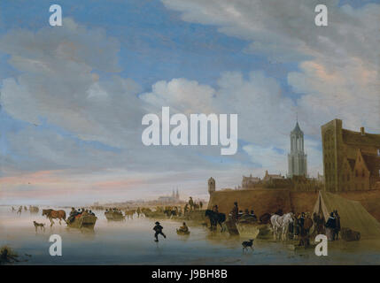 Winter landscape with figures skating and sleigh riding, by Salomon van Ruysdael - Stock Photo