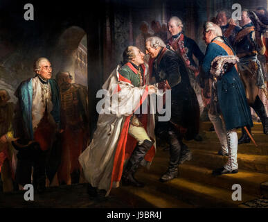 'Frederick the Great and Emperor Joseph II meet in Neisse in the Year 1769' (Begegnung Friedrichs II mit Kaiser - Stock Photo