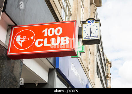 Sign outside the world famous 100 Club Oxford Street, London, UK - Stock Photo