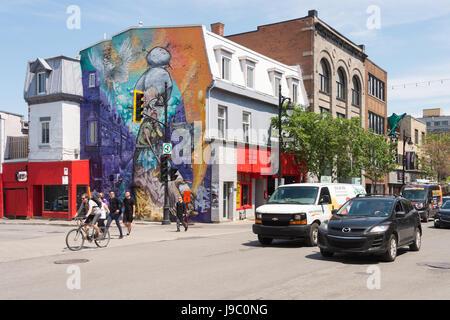 Montreal, Canada - 31 May 2017: Graffiti street art murals along Boulevard Saint-Laurent - Stock Photo