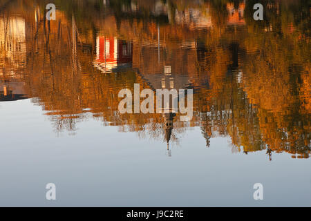 church, resin, autumnal atmosphere, autumn foliage, october, leaves, foliage, - Stock Photo