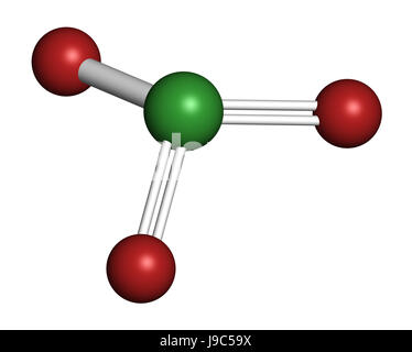 Chlorate anion, chemical structure. 3D rendering. Atoms are represented as spheres with conventional color coding: - Stock Photo