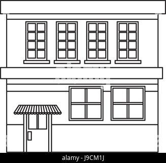 cartoon building grocery store facade - Stock Photo