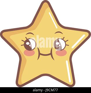 kawaii star funny cartoon character icon - Stock Photo