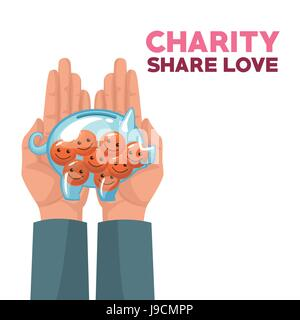 colorful hands holding in palms a money piggy bank with coins in the form of happy face charity share love - Stock Photo