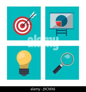 colorful background with graphic set of business idea - Stock Photo