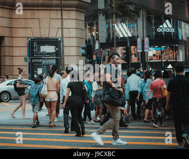 May 29, 2017 - Central, Hong Kong : People crossing on the busy street - Stock Photo