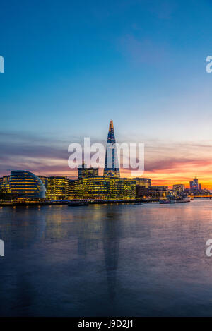 Skyline of the office complex More London Riverside, London City Hall, City Hall, The Shard, Thames at sunset, Southwark, - Stock Photo