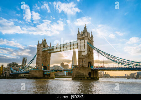 Tower Bridge over the River Thames, London, England, United Kingdom - Stock Photo