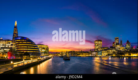 Panorama, promenade on the Thames, Potters Fields Park, Skyline of the City of London, Gherkin, Leadenhall Building - Stock Photo