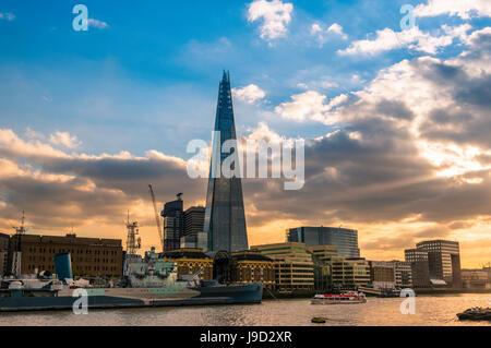 Skyline, The Shard, Thames at sunset, Southwark, London, England, United Kingdom - Stock Photo