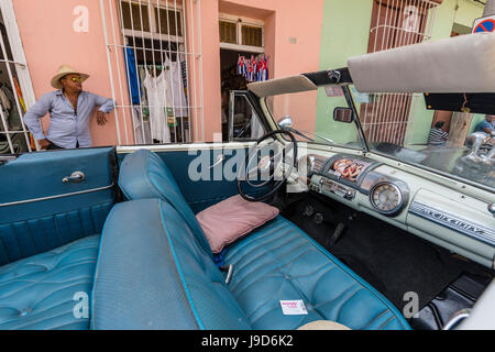 A vintage 1948 Mercury Eight American car working as a taxi, in the town of Trinidad, Cuba, West Indies, Caribbean - Stock Photo