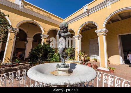 The inner courtyard of the Palacio Cantero, Museo Historico Municipal, in the town of Trinidad, UNESCO, Cuba, Caribbean - Stock Photo