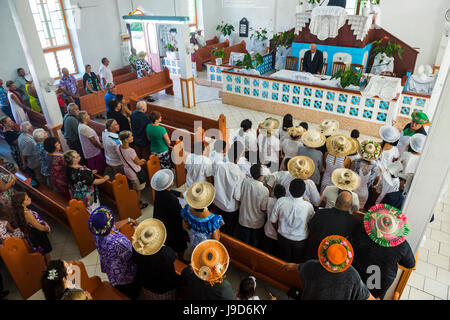 Women with traditional hats at a church service, Rarotonga, Rarotonga and the Cook islands, South Pacific, Pacific - Stock Photo
