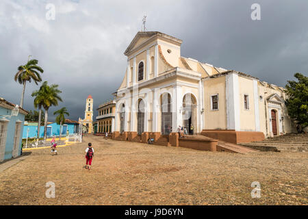 Exterior view of the Iglesia Parroquial de la Santisima, Trinidad, UNESCO World Heritage Site, Cuba, West Indies, - Stock Photo