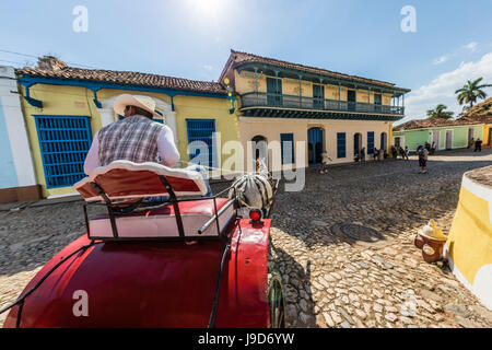 A horse-drawn cart known locally as a coche in Plaza Mayor, Trinidad, UNESCO World Heritage Site, Cuba, West Indies, - Stock Photo