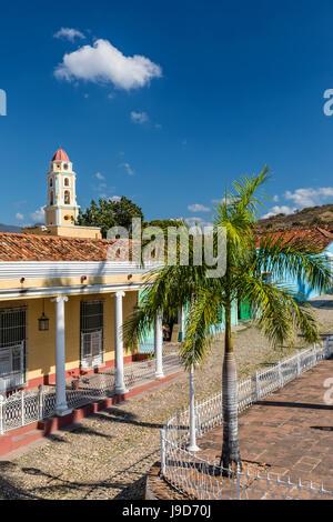 The Convento de San Francisco and Plaza Mayor, Trinidad, UNESCO World Heritage Site, Cuba, West Indies, Caribbean - Stock Photo