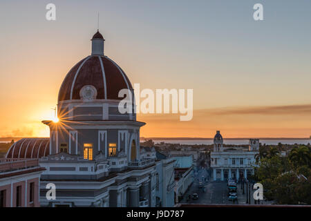 Antiguo Ayuntamiento, home of the provincial government building at sunset, UNESCO, Cienfuegos, Cuba, West Indies, - Stock Photo