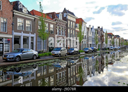 Houses on Turfmarkt in Gouda, South Holland, Netherlands, Europe - Stock Photo