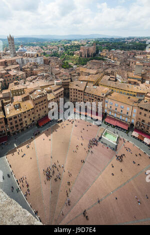 Top view of Piazza del Campo with the historical buildings and The Fonte Gaia fountain, Siena, UNESCO, Tuscany, Italy