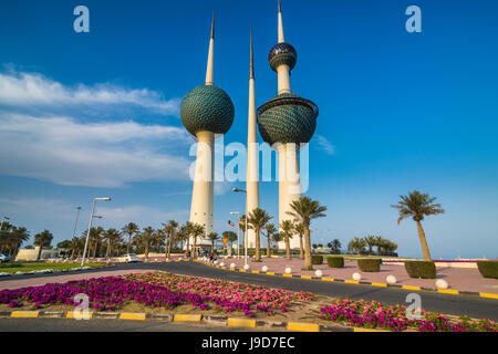 Landmark Kuwait towers in Kuwait City, Kuwait, Middle East - Stock Photo