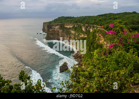 The sheer cliffs in the Uluwatu Temple (Pura Luhur Uluwatu) area, Uluwatu, Bali, Indonesia, Southeast Asia, Asia - Stock Photo