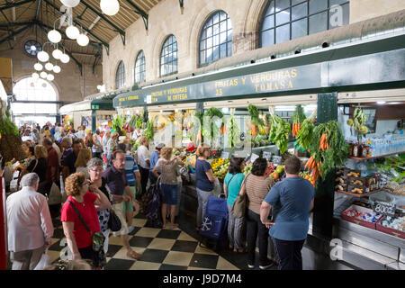 Interior of Mercado Central de Abastos food market, Jerez de la Frontera, Cadiz province, Andalucia, Spain, Europe - Stock Photo