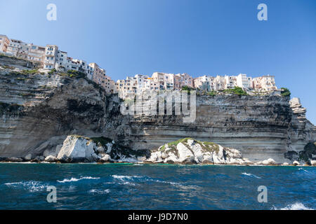 The turquoise sea frames the ancient village perched on the white cliffs, Bonifacio, Corsica, France, Mediterranean, - Stock Photo