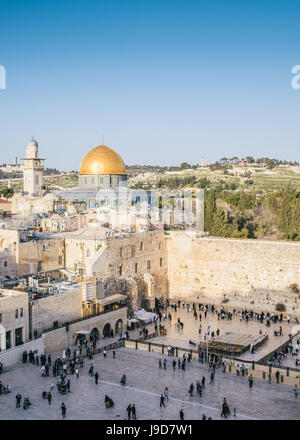 Temple Mount, Dome of the Rock, Redeemer Church and Old City in Jerusalem, Israel, Middle East - Stock Photo