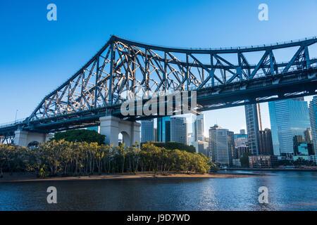 Iron train bridge (Story Bridge) across Brisbane River, Brisbane, Queensland, Australia, Pacific - Stock Photo