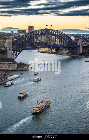 View over Sydney harbour after sunset, Sydney, New South Wales, Australia, Pacific - Stock Photo
