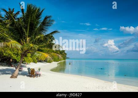 White sand beach and turquoise water, Sun Island Resort, Nalaguraidhoo island, Ari atoll, Maldives, Indian Ocean, - Stock Photo