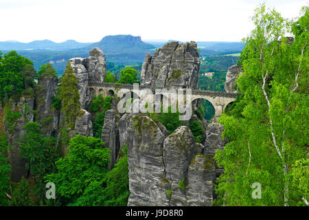 Bastei Bridge on Bastei Rock Formation near Rathen, Saxon Switzerland, Saxony, Germany, Europe - Stock Photo