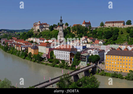 Salzach River and Old Town with Castle, Burghausen, Upper Bavaria, Bavaria, Germany, Europe - Stock Photo