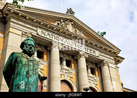 Ibsen statue in front of the National Theatre, Oslo, Norway, Scandinavia, Europe - Stock Photo