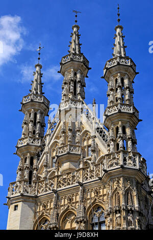 Late Gothic Town Hall at Grote Markt Square, Leuven, Brabant, Belgium, Europe - Stock Photo