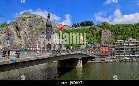 Citadel of Dinant on Meuse River, Dinant, Province of Namur, Wallonia, Belgium, Europe - Stock Photo