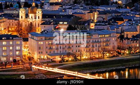Hotel Sacher on the Salzach River, Salzburg, Austria, Europe - Stock Photo