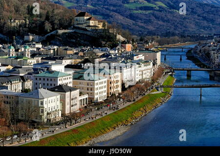 Salzach River and Kapuzinerberg Hill, Salzburg, Austria, Europe - Stock Photo