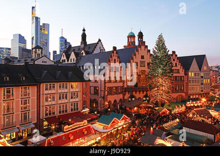 Christmas Fair on Roemerberg Square, Frankfurt am Main, Hesse, Germany, Europe - Stock Photo