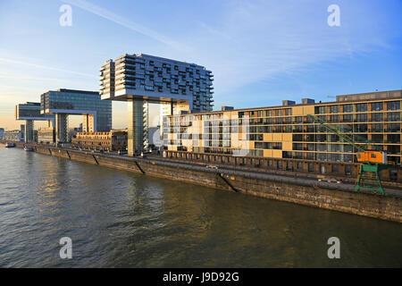 Crane Houses at Rheinau Harbour, Cologne, North Rhine-Westphalia, Germany, Europe - Stock Photo