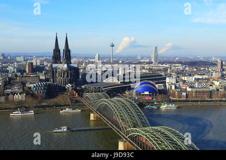 Hohenzollern Bridge with Cologne Cathedral, Cologne, North Rhine-Westphalia, Germany, Europe - Stock Photo