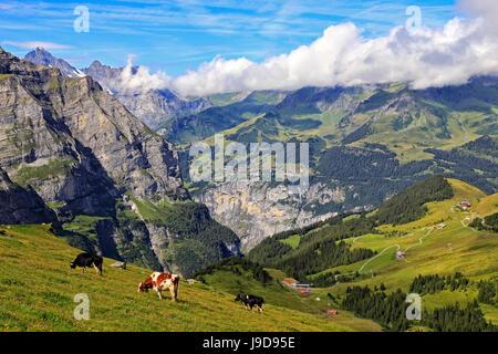 View from Kleine Scheidegg to Murren and Lauterbrunnen Valley, Grindelwald, Bernese Oberland, Switzerland, Europe - Stock Photo