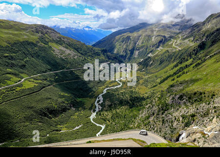 Gletsch with Rhone River, Grimsel and Furka Pass Roads, Canton of Valais, Switzerland, Europe - Stock Photo