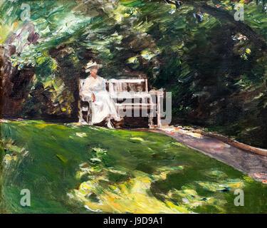 The Garden Bench (Die Gartenbank) by Max Liebermann (1847-1935), oil on canvas, 1916 - Stock Photo
