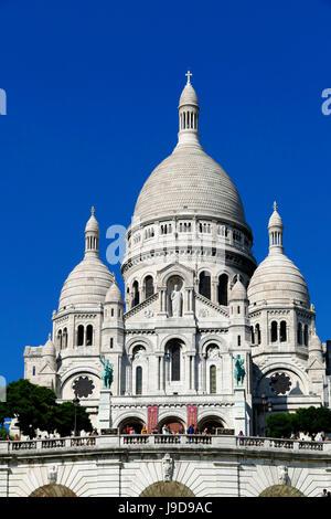 Sacre Coeur Basilica on Montmartre, Paris, France, Europe - Stock Photo